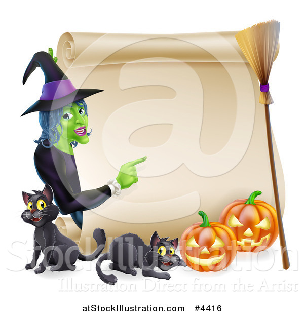 Vector Illustration of a Witch Pointing to a Scroll Sign with Black Cats Halloween Pumpkins and a Broomstick