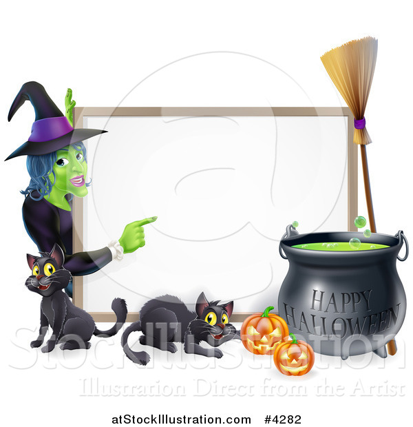 Vector Illustration of a Witch Pointing to a White Board Sign with Black Cats Halloween Pumpkins a Cauldron and a Broomstick