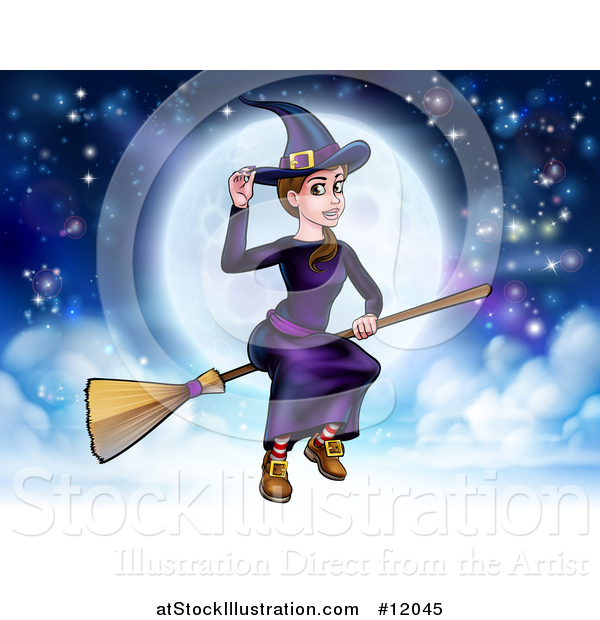 Vector Illustration of a Witch Tipping Her Hat and Flying on a Broomstick over a Full Moon