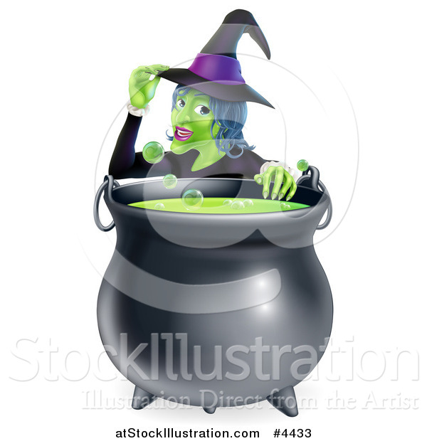 Vector Illustration of a Witch Touching Her Hat from Behind a Boiling Halloween Cauldron