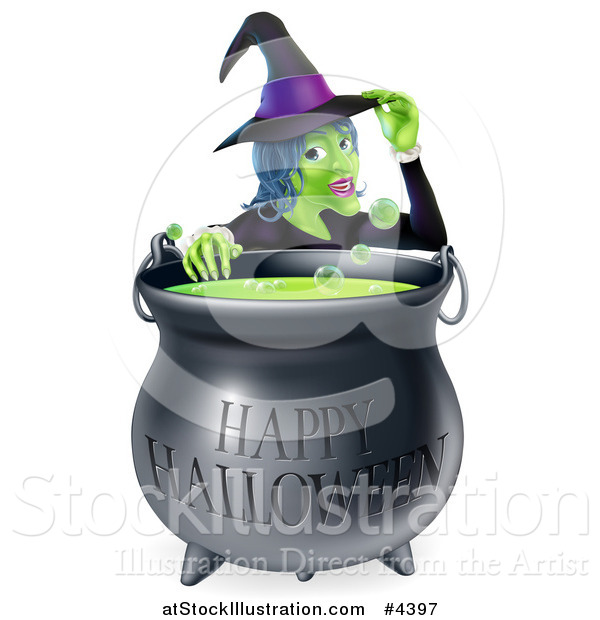 Vector Illustration of a Witch Touching Her Hat from Behind a Boiling Happy Halloween Cauldron