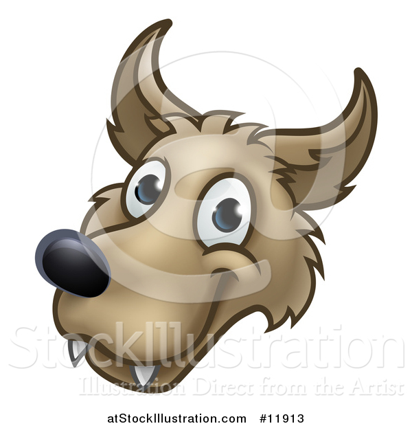 Vector Illustration of a Wolf Face Mascot from the Three Little Pigs Story