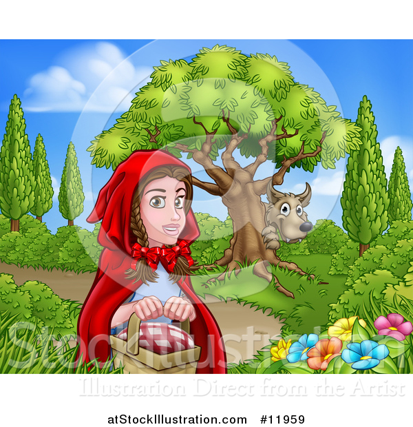 Vector Illustration of a Wolf Stalking Little Red Riding Hood