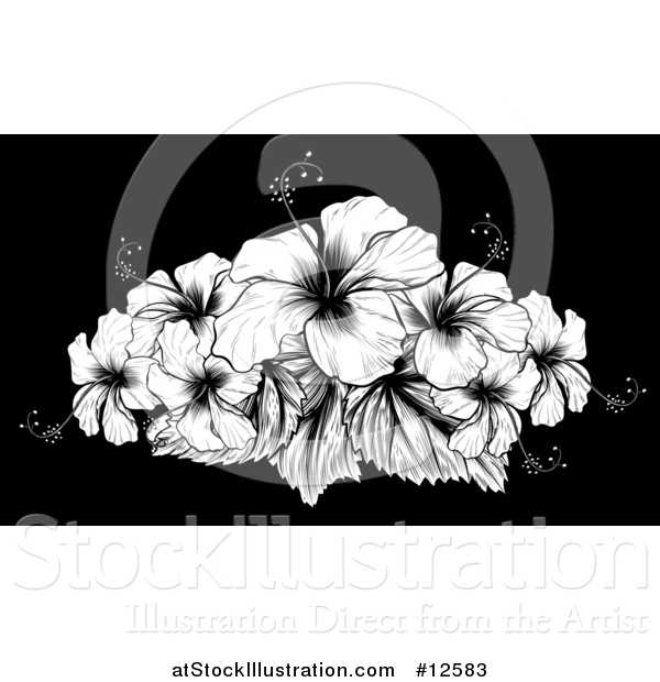 Vector Illustration of a Woodcut Hibiscus Flower Design on Black