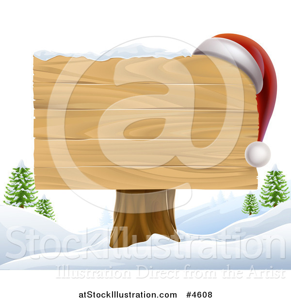Vector Illustration of a Wooden Christmas Sign with a Santa Hat in a Winter Landscape