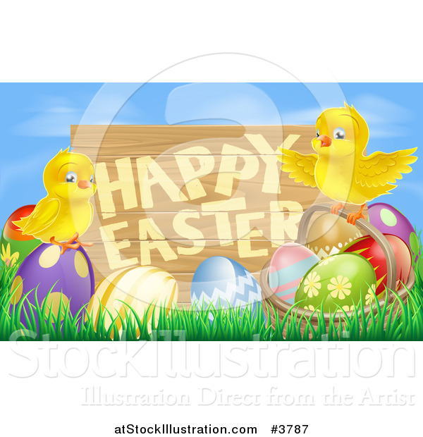 Vector Illustration of a Wooden Happy Easter Sign with Chicks and Easter Eggs Against Blue Sky