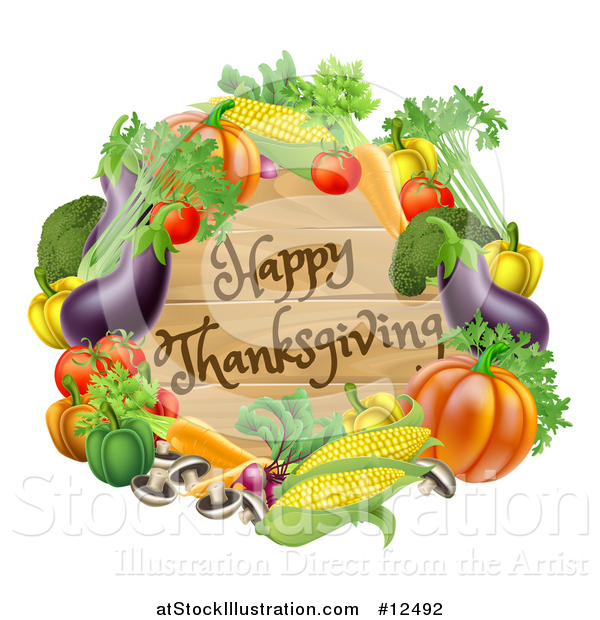 Vector Illustration of a Wooden Happy Thanksgiving Sign Framed in Produce Vegetables