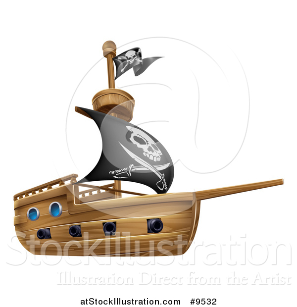 Vector Illustration of a Wooden Pirate Ship with a Jolly Roger Flag