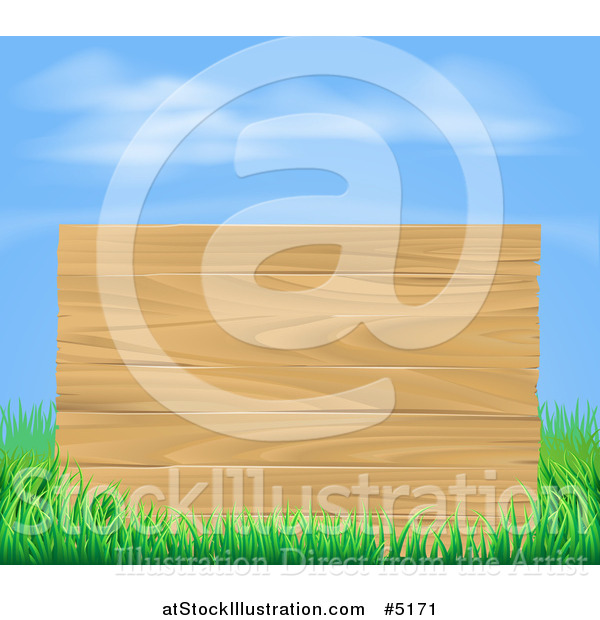 Vector Illustration of a Wooden Sign and Grass Under a Blue Sky