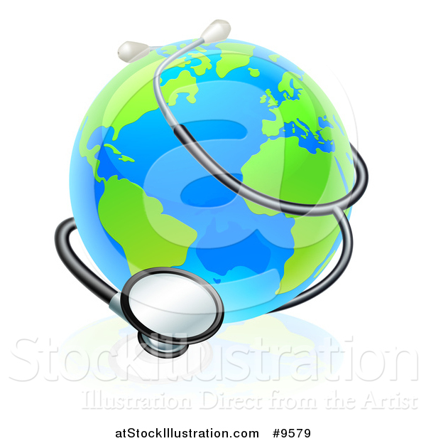 Vector Illustration of a World Earth Globe Wrapped in a Stethoscope