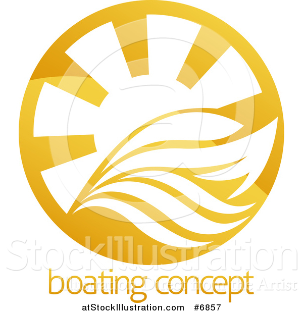 Vector Illustration of a Yacht, Waves and Sun Rays over Sample Text
