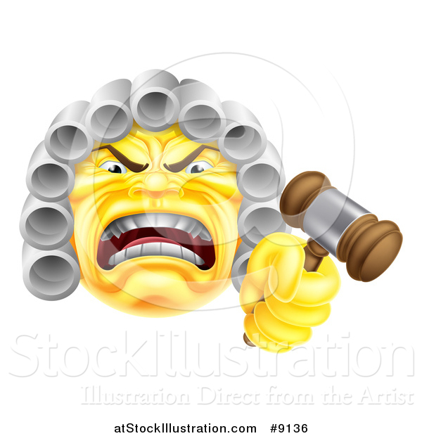 Vector Illustration of a Yellow Angry Judge Holding a Gavel Emoji Emoticon Smiley