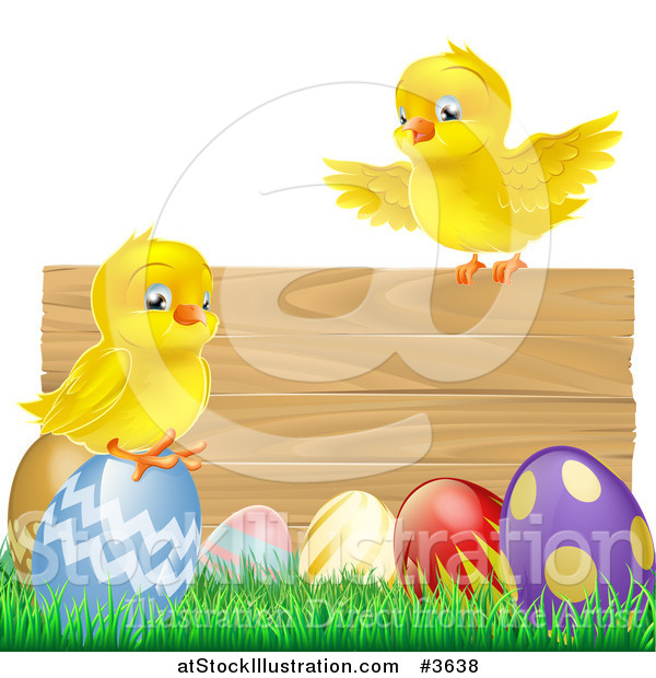 Vector Illustration of a Yellow Chicks and Easter Eggs on Grass by a Wood Sign