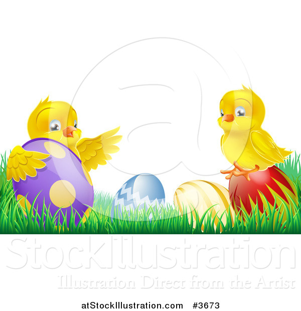 Vector Illustration of a Yellow Easter Chicks Playing in Grass with Eggs