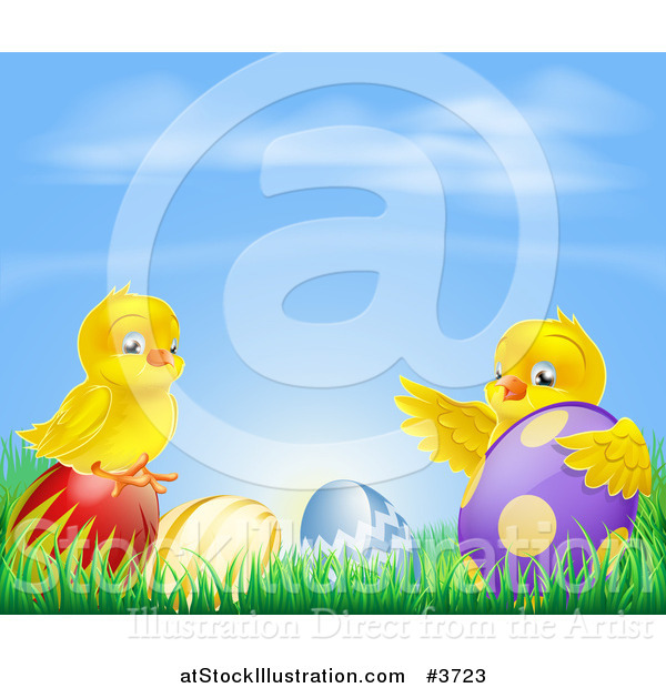 Vector Illustration of a Yellow Easter Chicks Playing in Grass with Eggs Under a Blue Sky