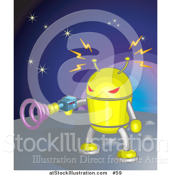 Vector Illustration of a Yellow Robot Shooting a Gun While on a Planet in Space
