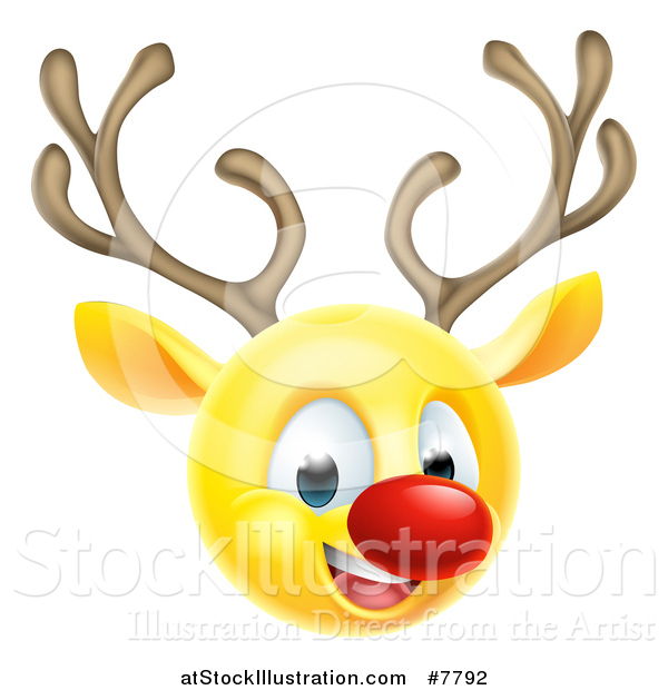 Vector Illustration of a Yellow Smiley Emoji Emoticon Christmas Reindeer Rudolph