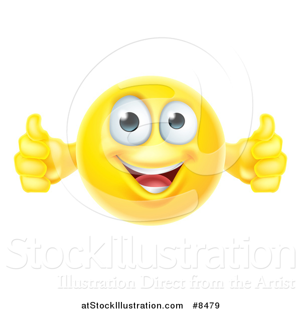 Vector Illustration of a Yellow Smiley Emoji Emoticon Giving Two Thumbs up