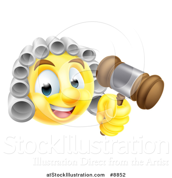 Vector Illustration of a Yellow Smiley Emoji Emoticon Judge Wearing a Wig and Holding a Gavel
