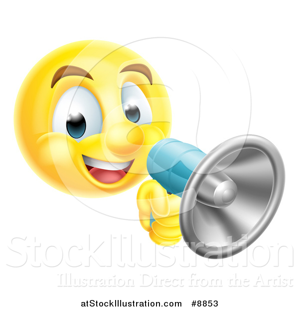 Vector Illustration of a Yellow Smiley Emoji Emoticon Using a Megaphone