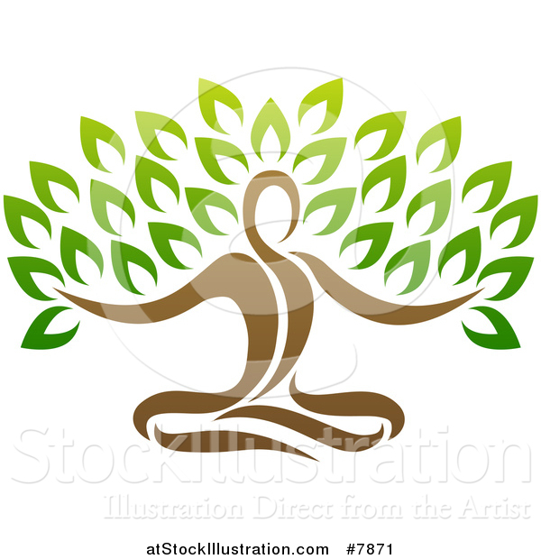 Vector Illustration of a Yoga Man Tree