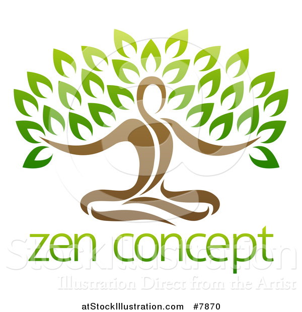 Vector Illustration of a Yoga Man Tree over Sample Text