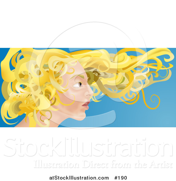 Vector Illustration of a Young Blond Caucasian Woman with Her Hair Flying in the Breeze