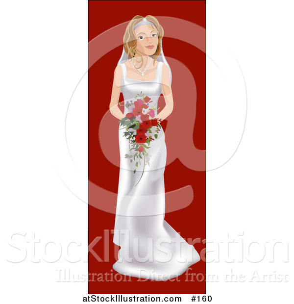 Vector Illustration of a Young Blond White Bride on Her Wedding Day, Wearing a White Dress and Holding a Bouquet of Red Flowers