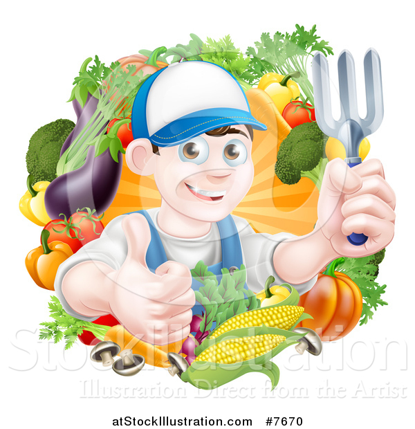 Vector Illustration of a Young Brunette White Male Gardener in Blue, Holding up a Garden Fork and Giving a Thumb up in a Wreath of Produce