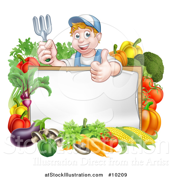 Vector Illustration of a Young Caucasian Male Gardener in Blue, Holding up a Garden Fork and Giving a Thumb up over a Blank White Sign with Produce