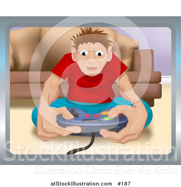 Vector Illustration of a Young Man Playing a Video Game and Sitting on the Floor