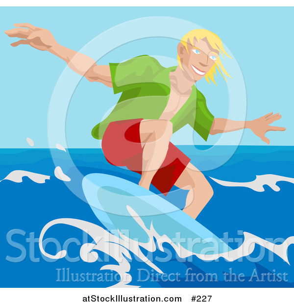 Vector Illustration of a Young Surfer Dude Surf Boarding