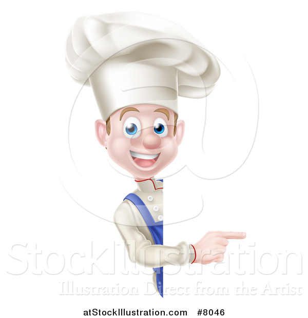 Vector Illustration of a Young White Male Chef Pointing Around a Sign