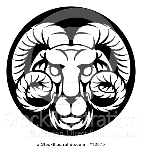 Vector Illustration of a Zodiac Horoscope Astrology Aries Ram Circle Design in Black and White