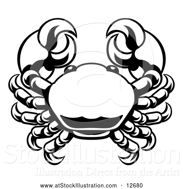 Vector Illustration of a Zodiac Horoscope Astrology Cancer Crab Design, Black and White