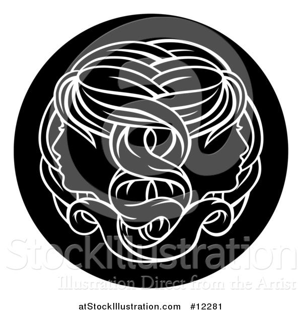 Vector Illustration of a Zodiac Horoscope Astrology Gemini Twins Circle Design, Black and White