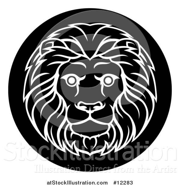 Vector Illustration of a Zodiac Horoscope Astrology Leo Lion Circle Design, Black and White