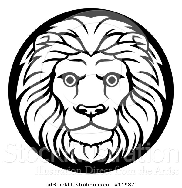Vector Illustration of a Zodiac Horoscope Astrology Leo Lion Circle Design in Black and White