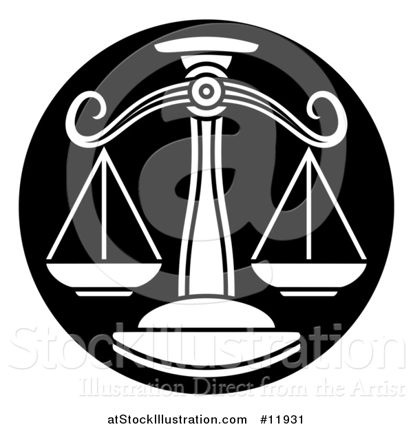 Vector Illustration of a Zodiac Horoscope Astrology Libra Scales Circle Design in Black and White