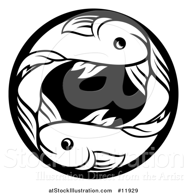 Vector Illustration of a Zodiac Horoscope Astrology Pisces Fish Circle Design in Black and White