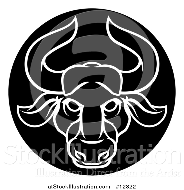 Vector Illustration of a Zodiac Horoscope Astrology Taurus Bull Circle Design in Black and White