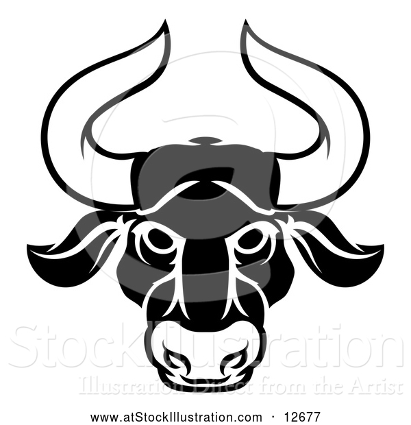 Vector Illustration of a Zodiac Horoscope Astrology Taurus Bull Design in Black and White