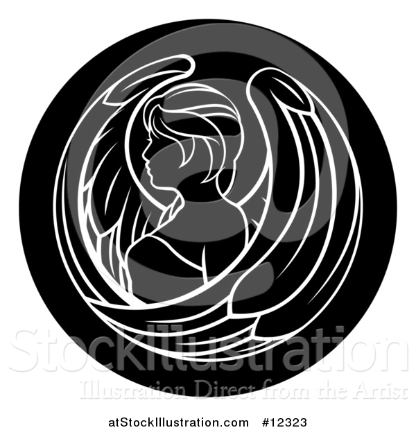 Vector Illustration of a Zodiac Horoscope Astrology Virgo Circle Design in Black and White