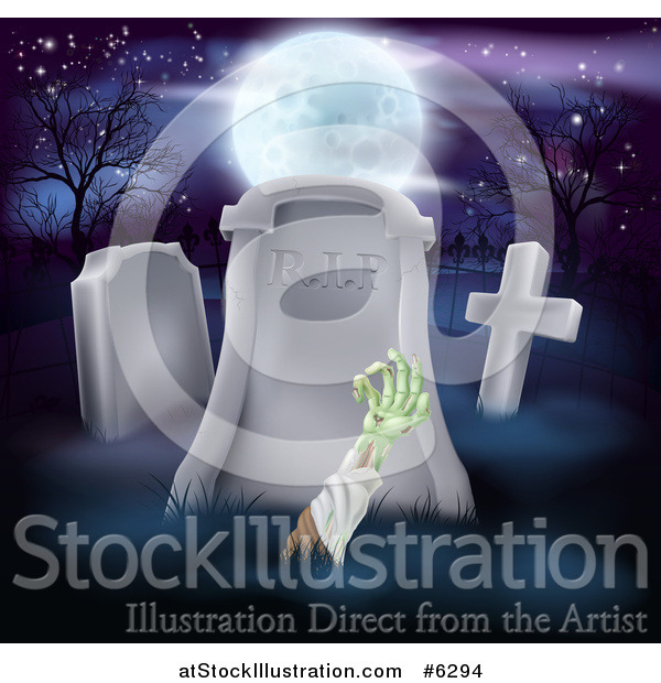 Vector Illustration of a Zombie Hand Rising out from a Grave in a Cemetery Under a Full Moon