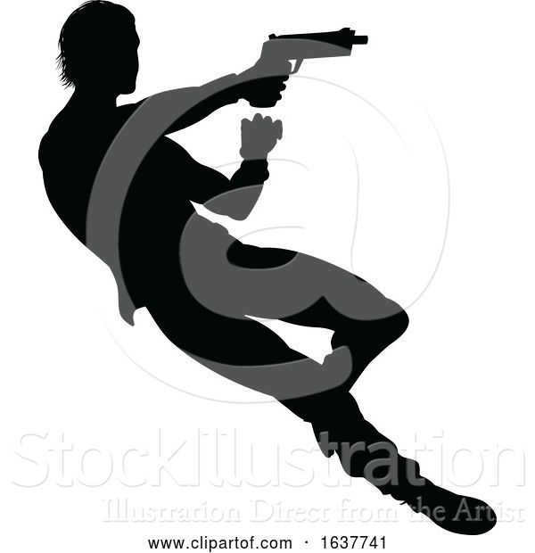 Vector Illustration of Action Movie Shoot out Person Silhouette