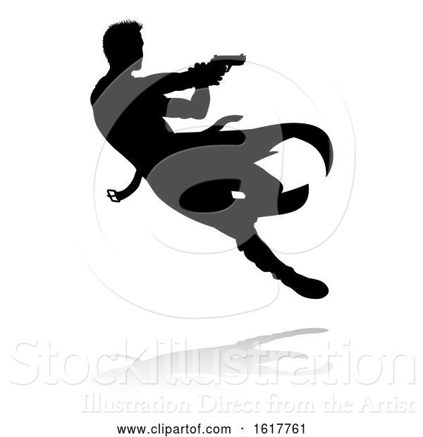 Vector Illustration of Action Movie Shoot out Person Silhouette, on a White Background