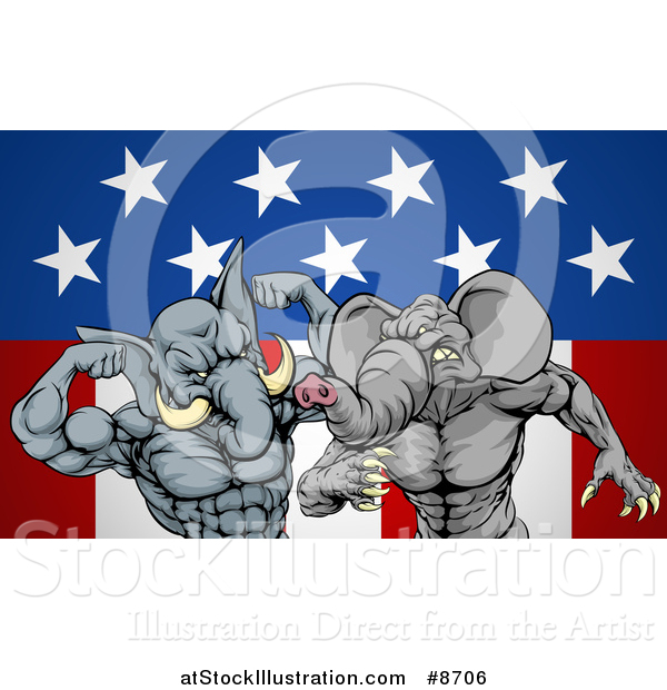 Vector Illustration of Aggressive Elephant Men Republican Candidates Fighting over an American Flag