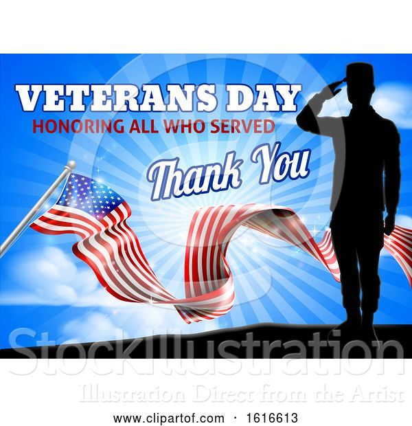 Vector Illustration of American Flag Veterans Day Soldier Saluting