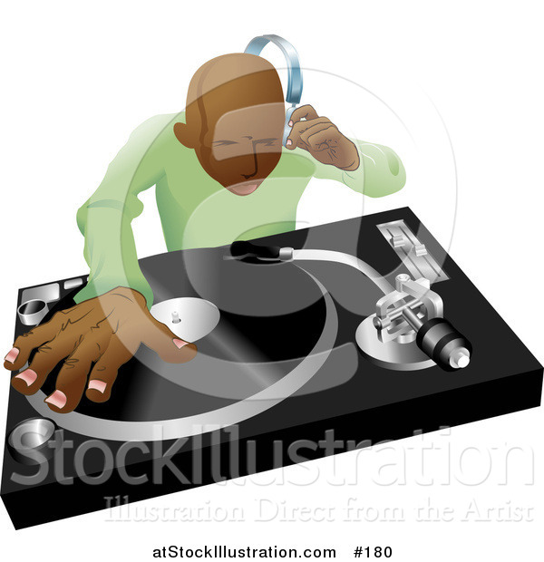 Vector Illustration of an African American DJ Mixing His Records and Listening Through Headphones