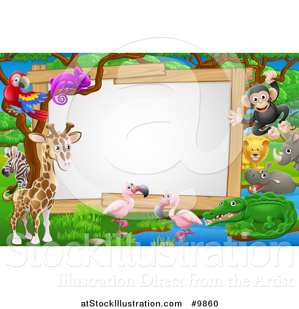 Vector Illustration of an African Safari Sign with Cute Animals at a Watering Hole